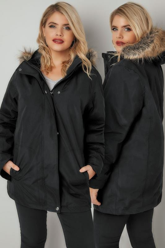 Plus Size Coats Black 3 In 1 Waterproof & Windproof Coat With Detachable Fleece & Faux Fur Trim Hood