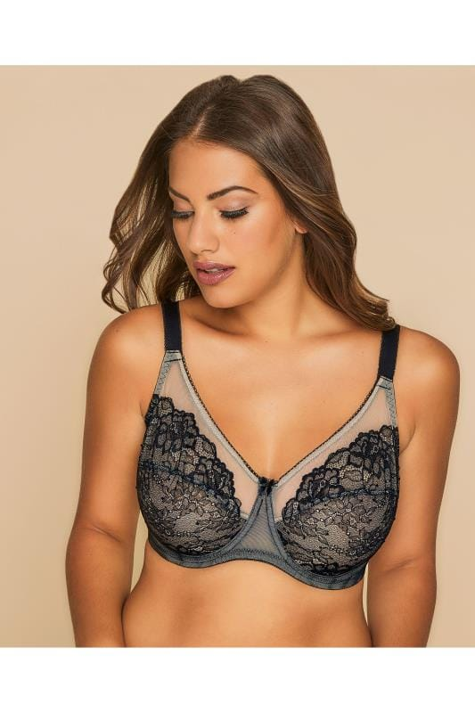 Plus Size Underwire Bras Black And Nude Glamour Lace and Mesh Underwired Bra