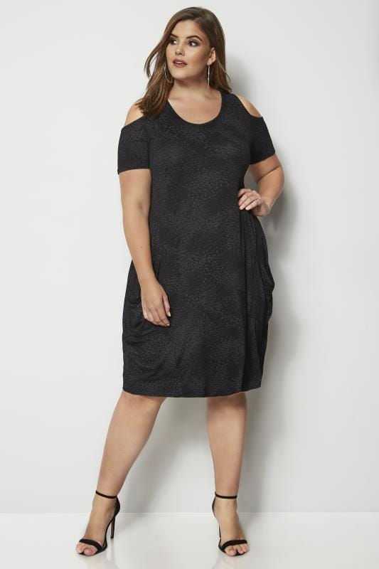 Black Animal Print Cold Shoulder Drape Pocket Dress