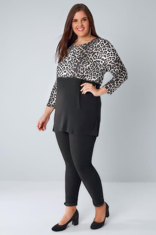 YOURS LONDON Black & Leopard Colour Block Jersey Top With 3/4 Sleeves
