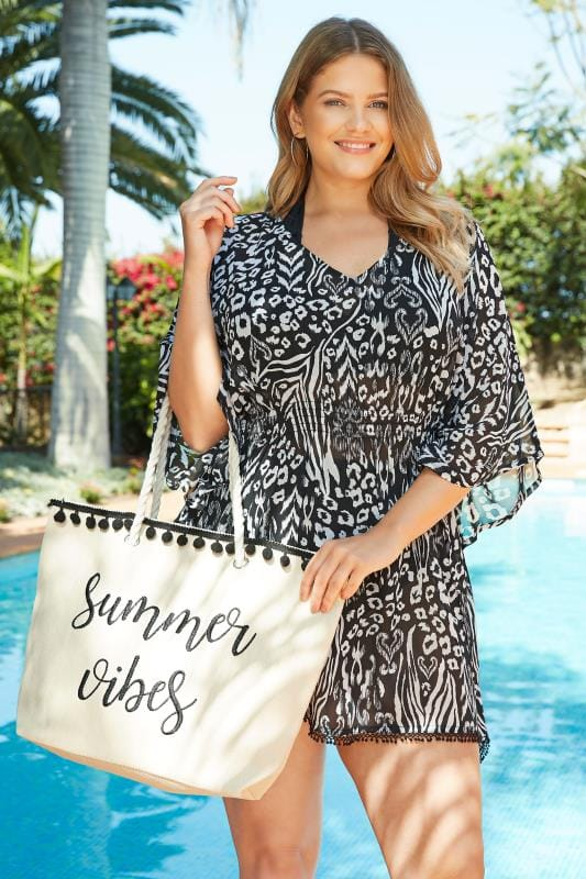 Plus Size Kaftans & Cover Ups Black Animal Print Kaftan