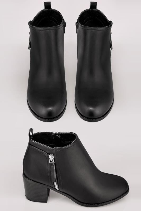 Black Ankle Boots With Block Heel & Side Zips In TRUE EEE Fit