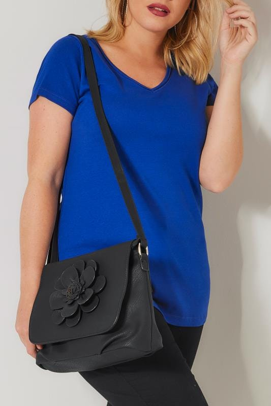 Plus Size Across-The-Body Black Flower Cross Body Bag
