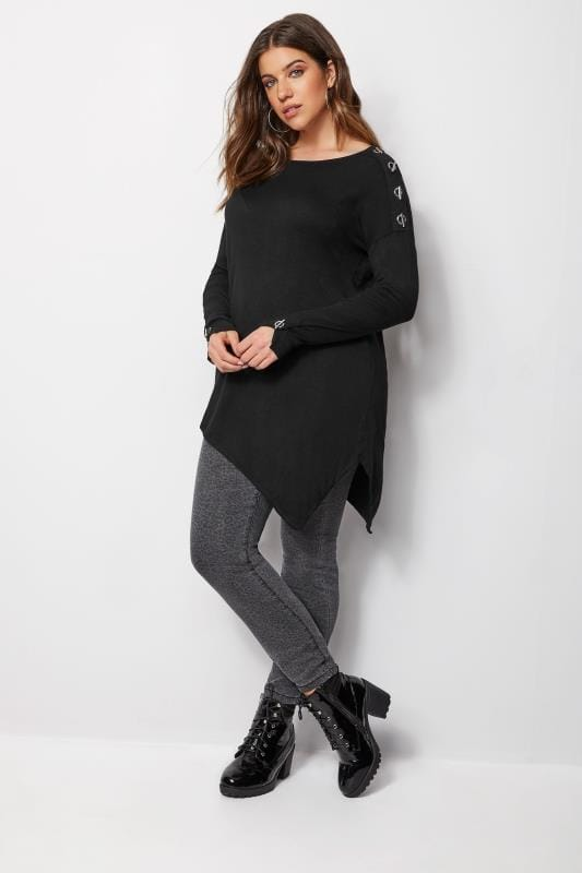Plus Size Knitted Tops & Jumpers Black Asymmetric Eyelet Jumper