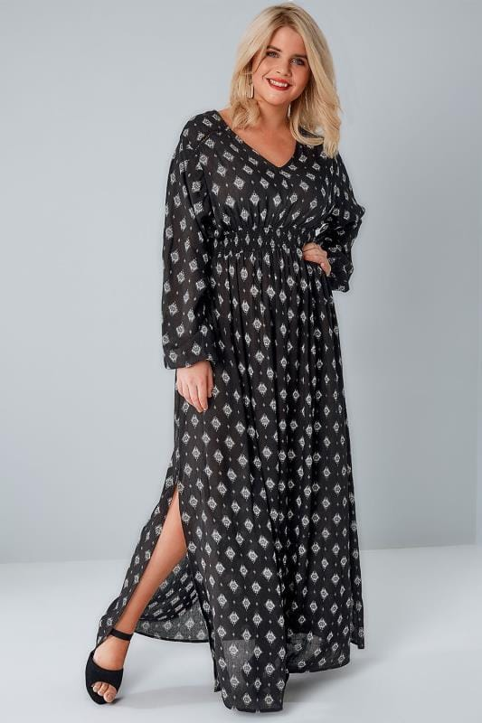 Black Aztec Diamond Print Maxi Dress With Ruched Elasticated Waist