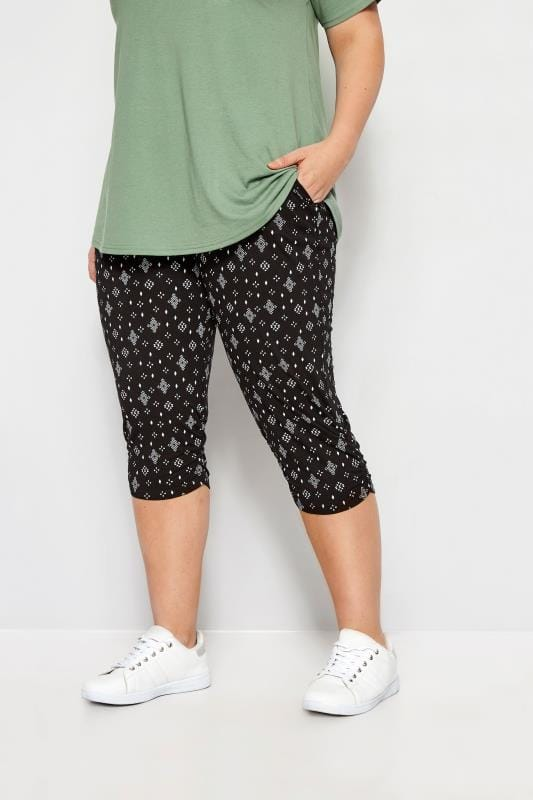 Plus Size Capri Pants Black Aztec Geo Cropped Harem Trousers