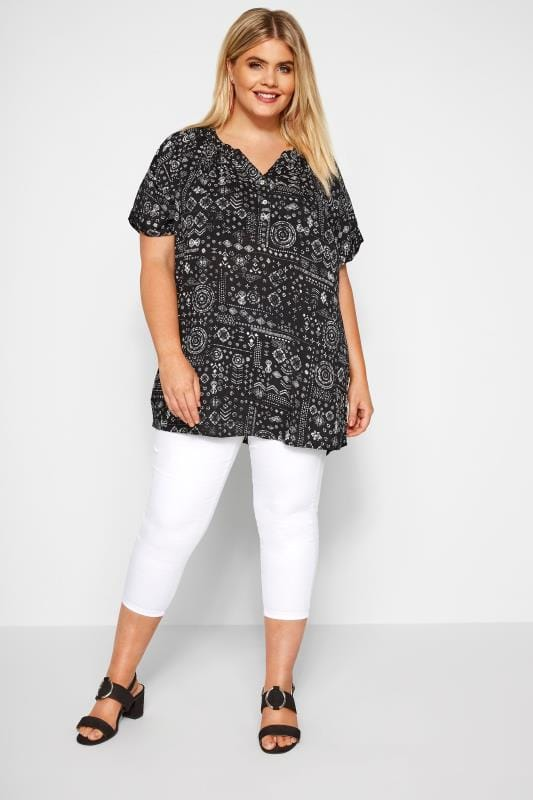 Black Aztec Button Top