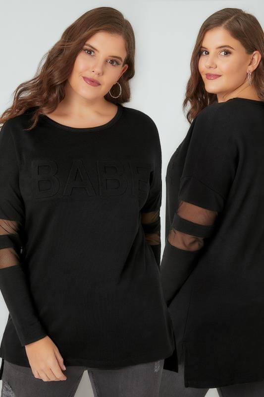 Black 'Babe' Embossed Sweat Top With Mesh Inserts