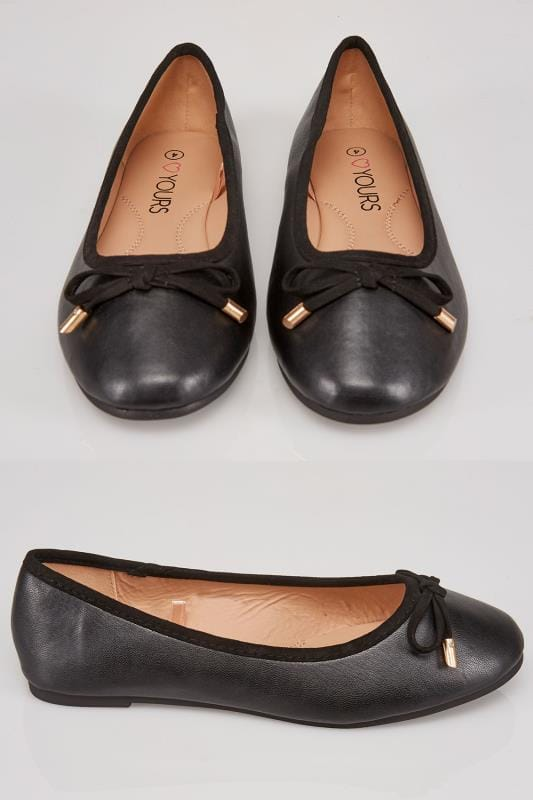 Wide Fit Flat Shoes Black Ballerina Pump With Bow Detail In TRUE EEE Fit