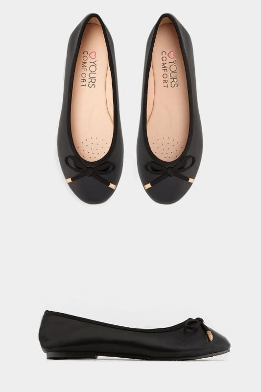 cec9d0a1475 Wide Fit Flat Shoes Black Ballerina Pumps In EEE Fit