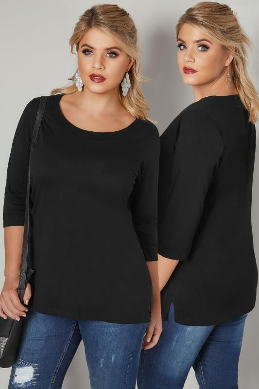 Plus Size Day Tops Black Band Scoop Neckline T-Shirt With 3/4 Sleeves