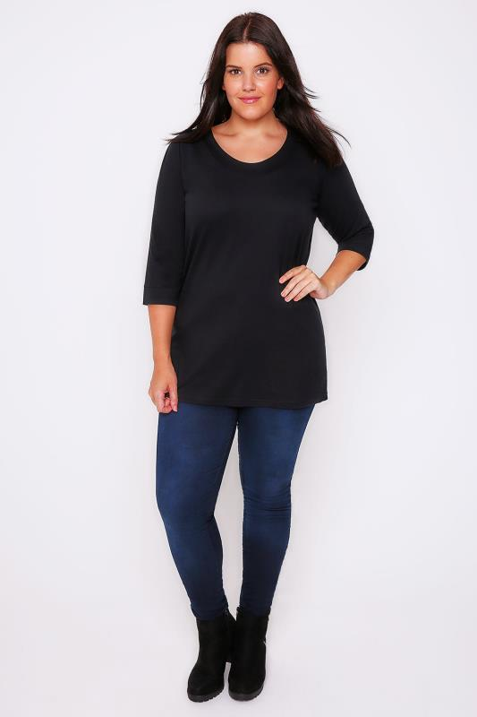 Black Band Scoop Neckline T-Shirt With 3/4 Sleeves