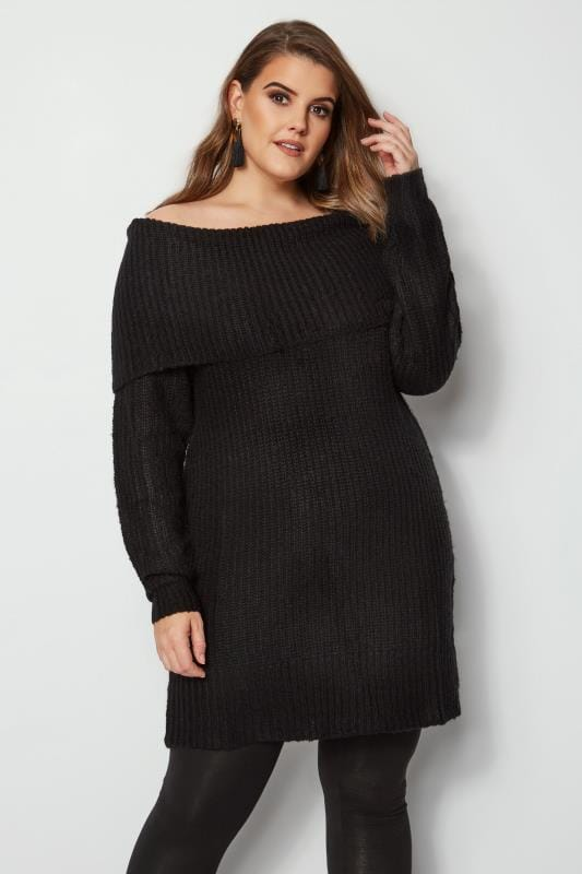 Plus Size Jumpers Black Bardot Knitted Jumper