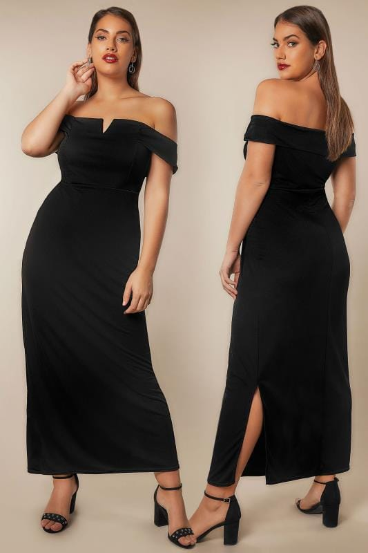 YOURS LONDON Black Bardot Maxi Dress With V-Neckline