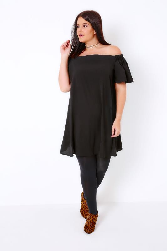 Black Bardot Off The Shoulder Swing Dress