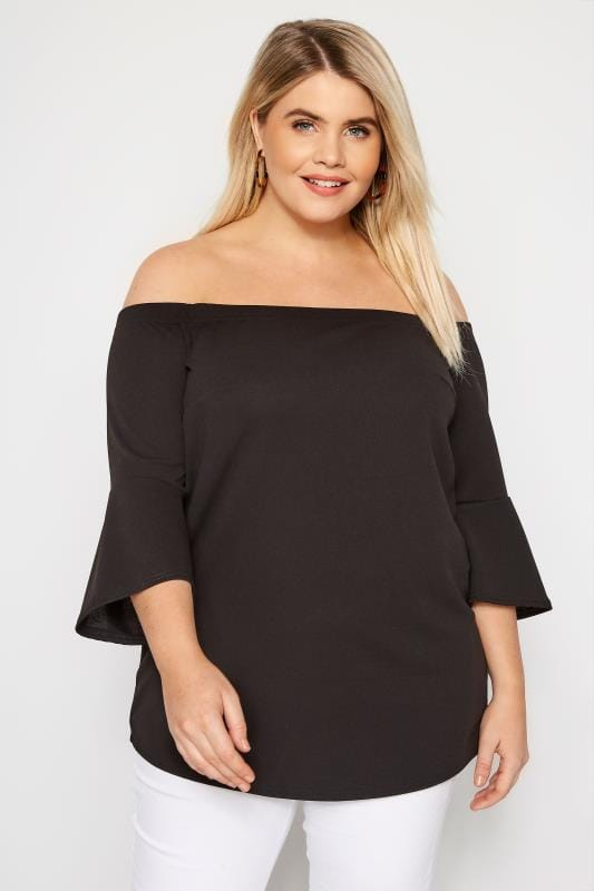 8fc1979a02ab8 Plus Size Bardot   Cold Shoulder Tops Black Bardot Top With Flute Sleeves
