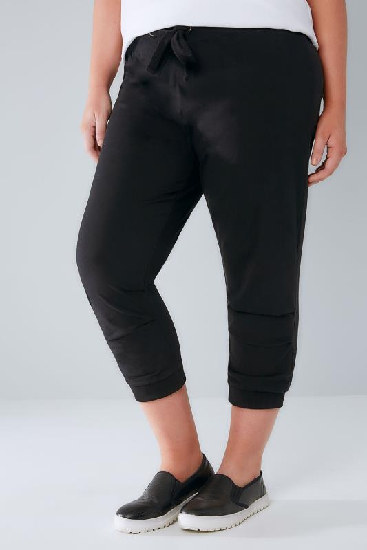 Black Basic Cotton Jersey Cropped Joggers With Fold Detail