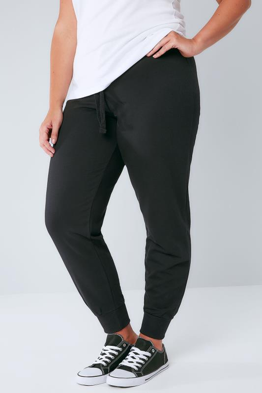 Joggers Full Length Black Basic Cotton Jersey Joggers 126008