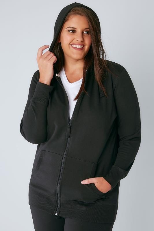 Black Basic Zip Through Jersey Hoodie With Pockets