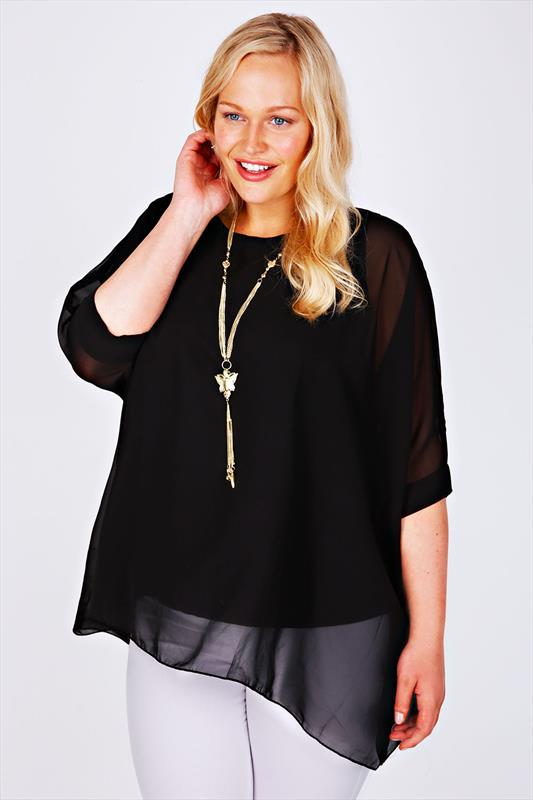 Black Batwing Sleeve Chiffon Top With Necklace