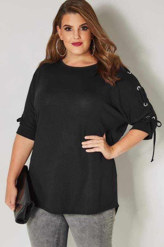 Plus Size Day Tops Black Batwing Top With Eyelet Lace Sleeves