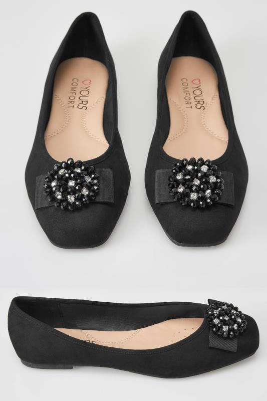 Wide Fit Flat Shoes Black Bead Embellished Ballerina Pumps In EEE Fit