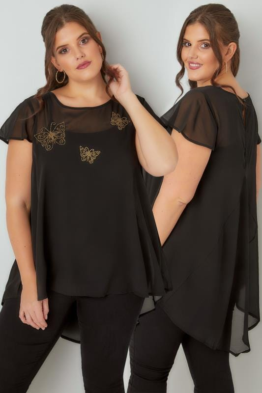 Plus Size Dipped Hem Tops Black & Gold Beaded Butterfly Swing Top With Dipped Hem