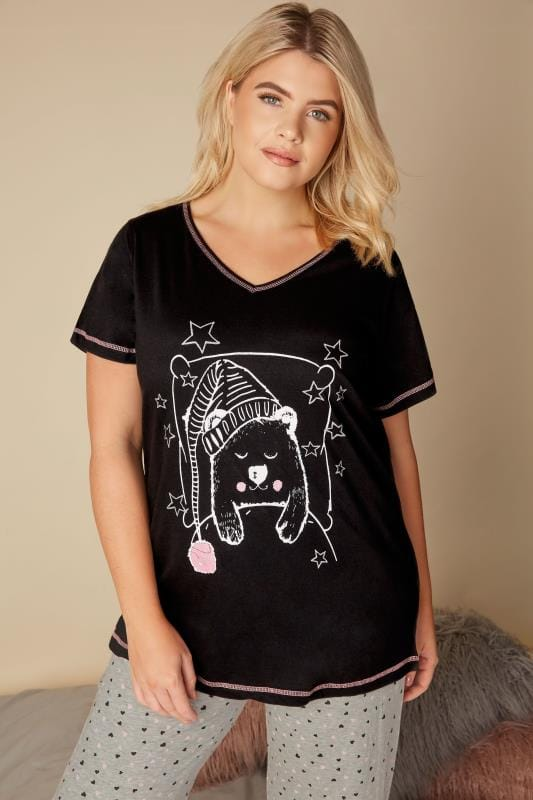Plus Size Pajamas Black Bear Print Pyjama Top