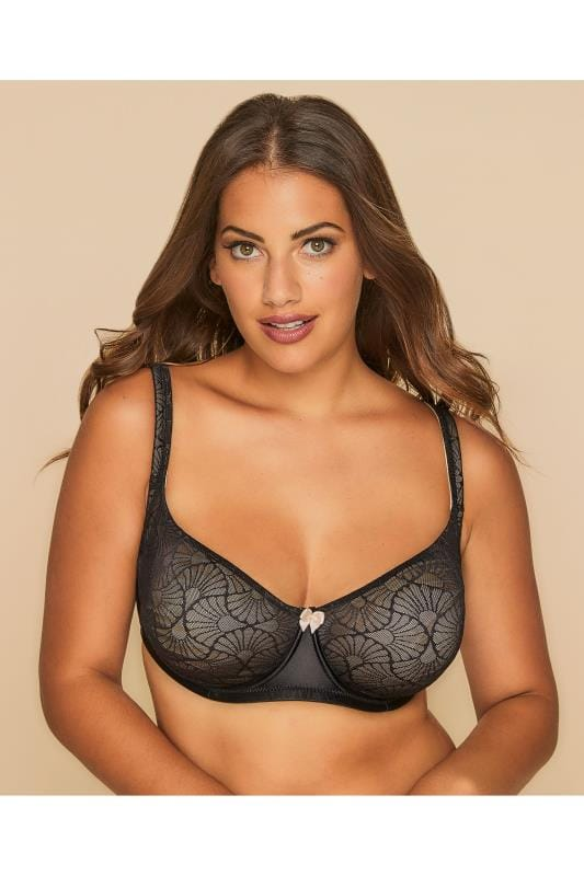 Plus Size Moulded Bras Black & Beige Lace Overlay Smooth Non-Padded Moulded Bra