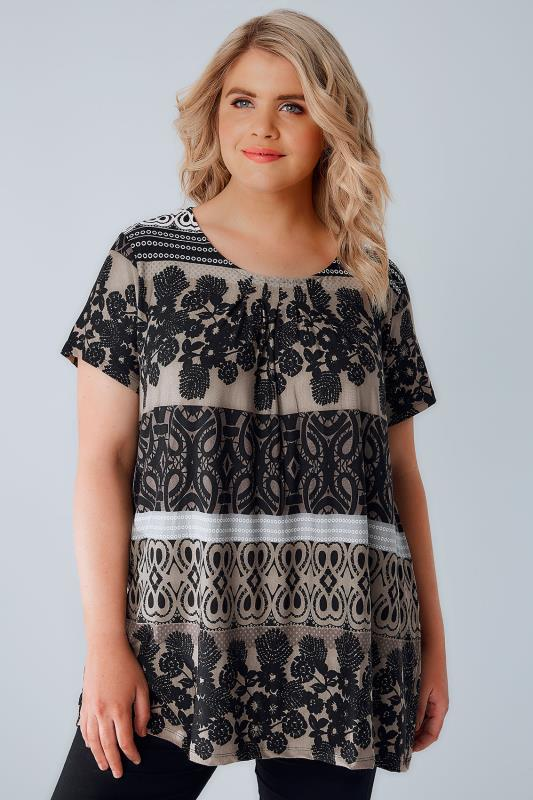 Black & Beige Mixed Print Jersey Top With Pleating Detail