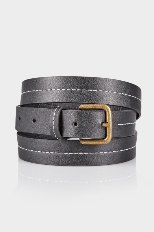 Plus Size Plus Size Belts Black Stitched Pin Buckle Belt