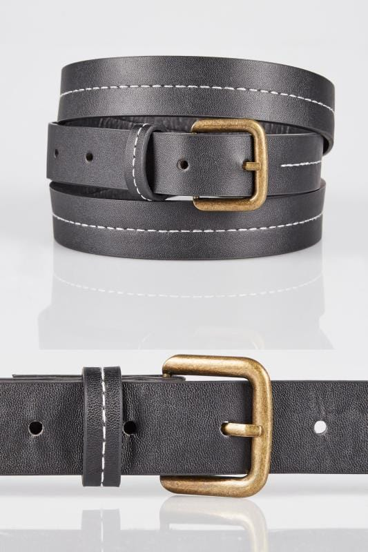 Plus Size Belts Black Belt With Contrast Stitching