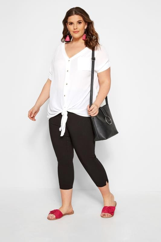 Black Bengaline Cropped Pull On Trousers