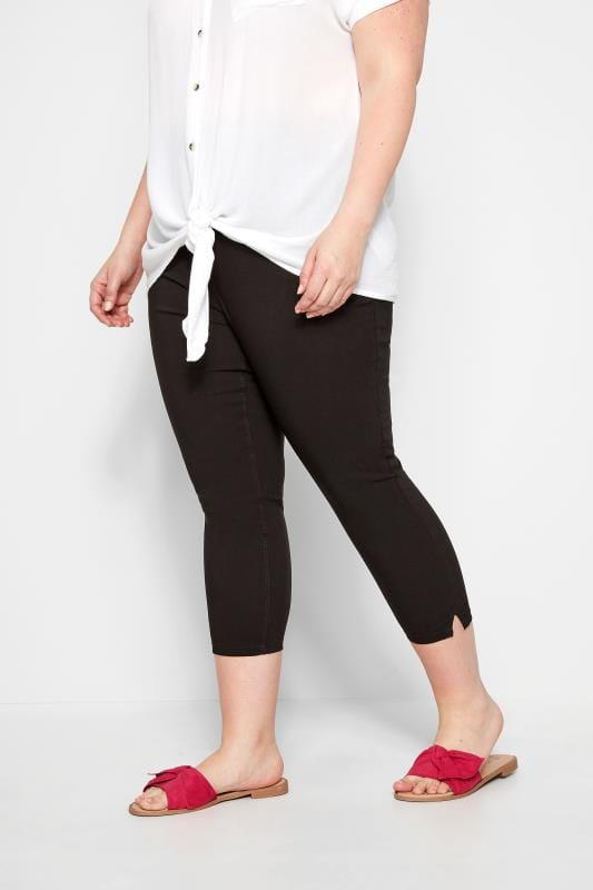 Plus Size Cropped Pants Black Bengaline Cropped Pull On Trousers