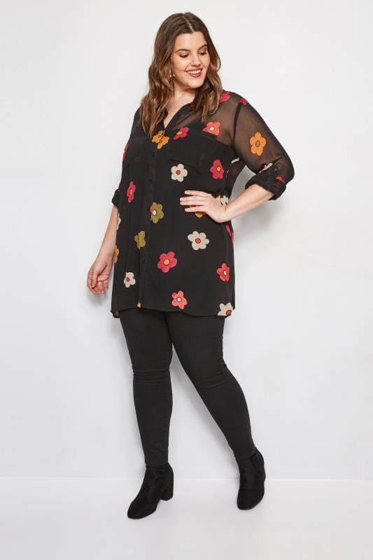 Plus Size Shirts Black & Berry Floral Chiffon Shirt
