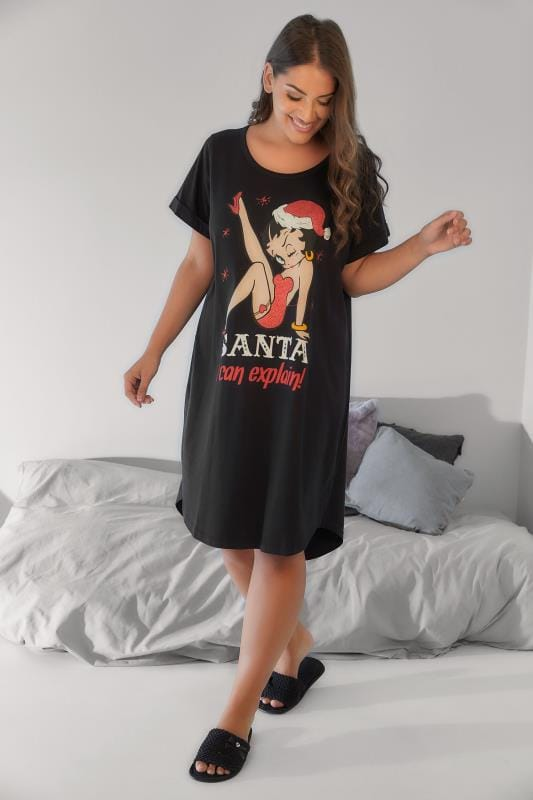 Black Betty Boop Christmas Slogan Print Nightdress