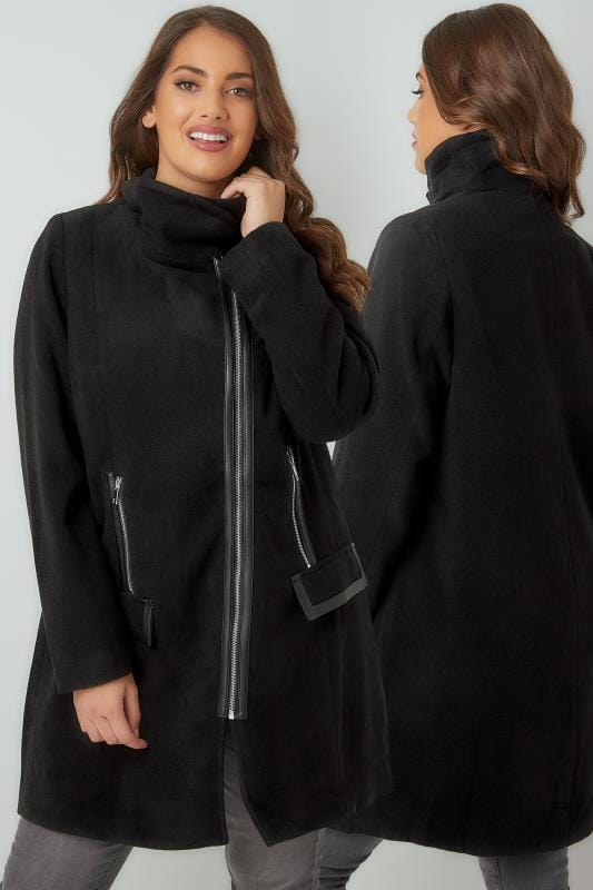 Black Biker Style Coat With PU Trim