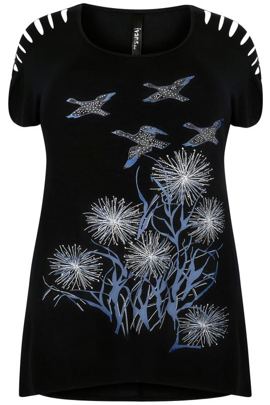 Black Bird Print Top With Shredded Shoulder Detail