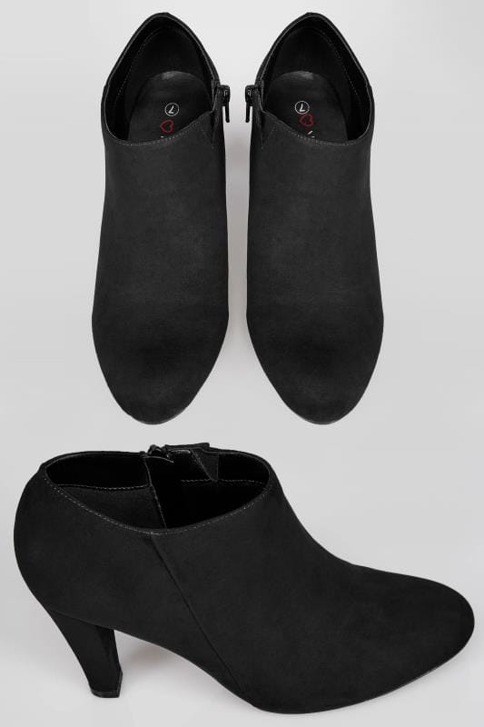 Black Block Heel Shoe Boots With Flexi Sole In TRUE EEE Fit