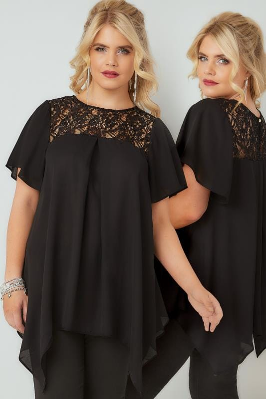 Plus Size Blouses & Shirts Black Blouse With Lace Sequin Yoke