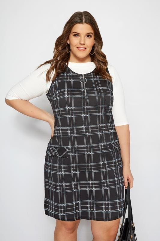 Plus Size Pinafore Dresses Black & Blue Checked Ring Detail Pinafore