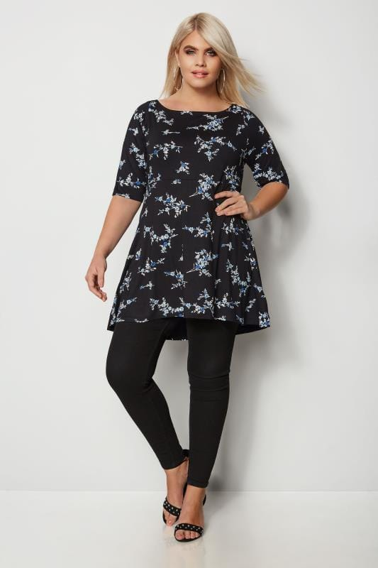Black & Blue Floral Peplum Top