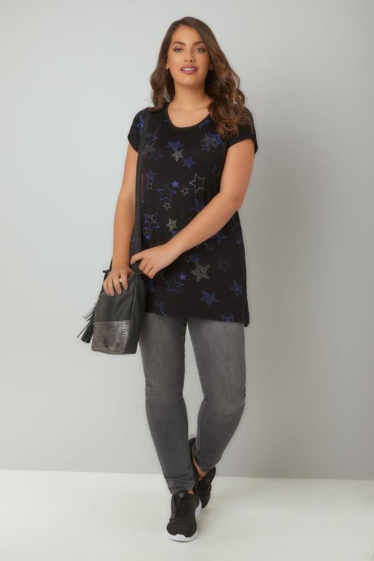 Black & Blue Glitter Star Print T-Shirt