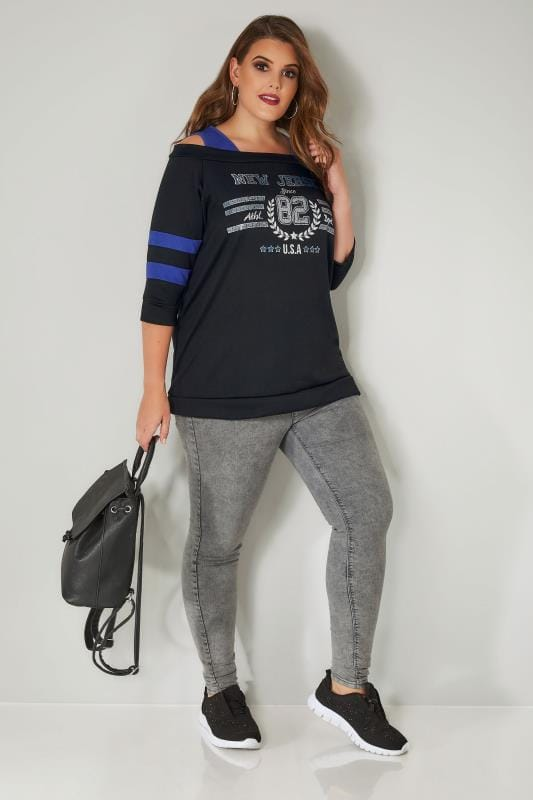 Black & Blue 'New Jersey' Print Cold Shoulder Sweat Top