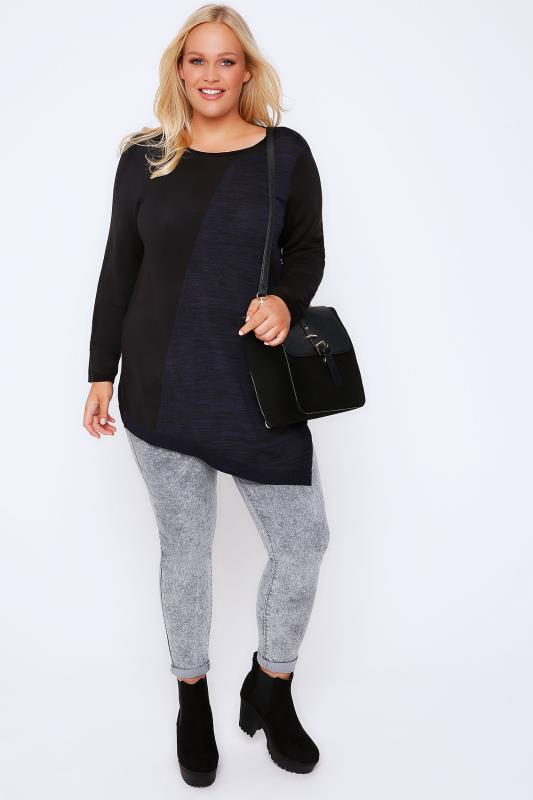 Black & Blue Space Dye Colour Block Knitted Tunic With Asymmetric Hem