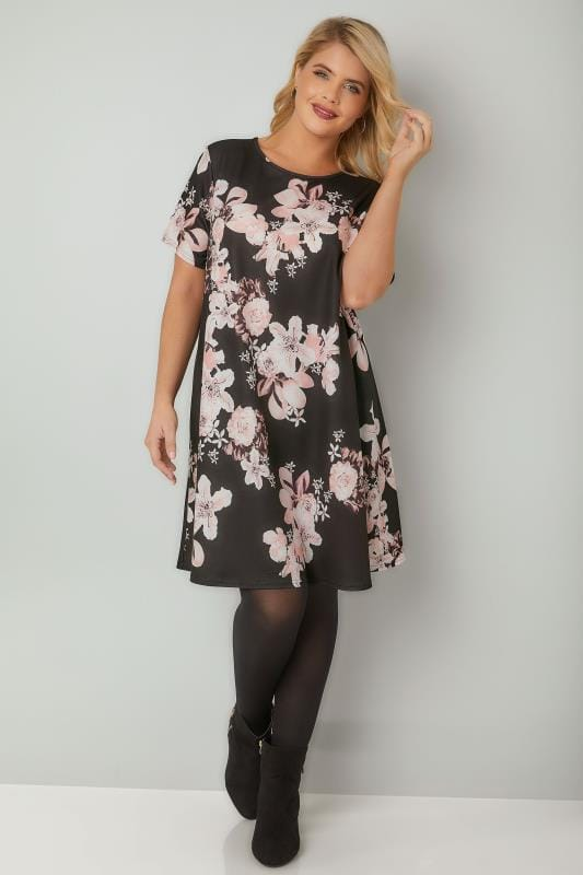 Black & Blush Pink Floral Print Swing Dress With Short Sleeves