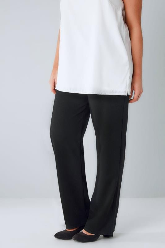Black Bootleg Stretch Textured Trousers