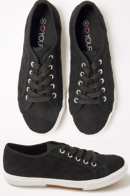 Wide Fit Trainers Black Broderie Anglais Lace Up Plimsoll In TRUE EEE Fit 154017