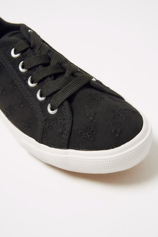Black Broderie Anglais Lace Up Plimsoll In TRUE EEE Fit