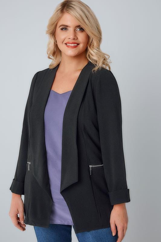 Plus Size Blazers Black Bubble Crepe Blazer Jacket With Zip Pockets